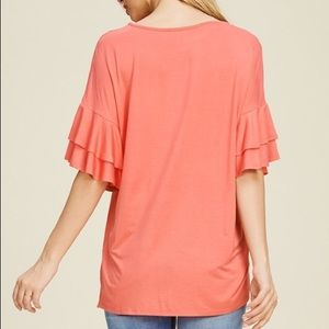 Tops - Ruffle Tiered Sleeve Relaxed Fit Top Black